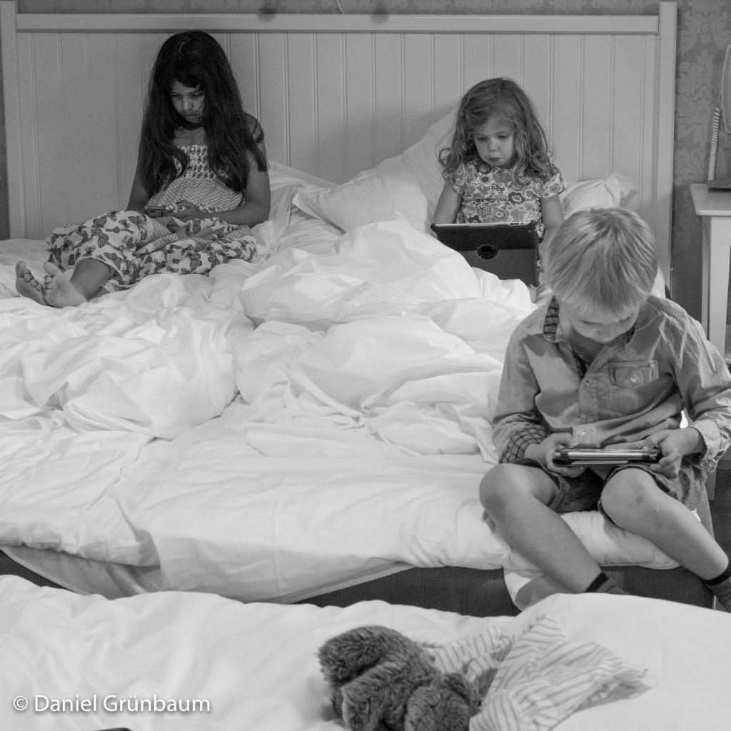 Efter en hel dags badande och härjande var det tre trötta och lite slitna barn