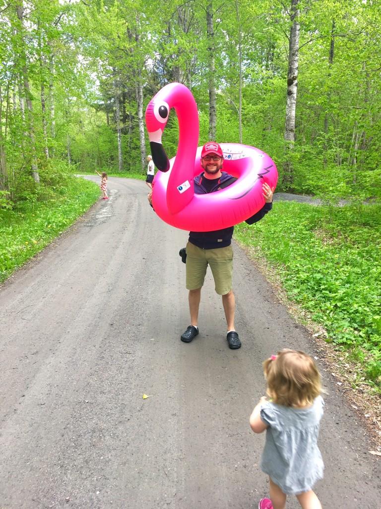 På grusvägen på väg till stranden. Alltså den däringe flamingon är rätt stor...